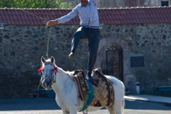 Horsing around: A old Armenian man dances on the back of his horse at the top of the Gandzazar monastery in Nagorno-Karabakh. (2010)