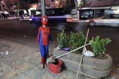 Spiderboy: A small mannequin dressed in a spiderman costume tied to a lamppost in the eastern Turkish city of Kahramanmaras, for no immediately apparent reason.
