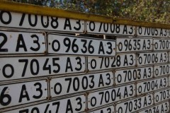 Wallpaper: Sequential license plates form the outer gates of a very small zoo in Vank, a village in Nagorno-Karabakh. (2010)