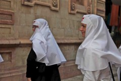 Lutheran nuns leave the Church of the Redeemer in Jerusalem's Old City. (2010)