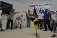 "Dance break: The Gazan youths that make up the ""Camps Breakerz"" break dancing troupe practice their moves in a house in Khan Younis in the Gaza Strip. (2010)"