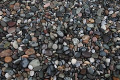 Pebble beach: Richly-colored stones adorn the shore in the Black Sea resort city of Batumi, Georgia. (2010)