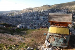 An old Volkswagen functions as a chicken coop on a hill above Nablus, West Bank. (2010)