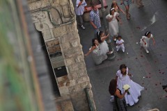From the balcony: A wedding procession in West Jerusalem. (2010)