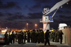Encampment: Israeli forces gather on a base in the port of Ashdod, shortly following a raid on a flotilla of humanitarian aid ships bound for Gaza. (2010)