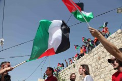 Rally: Protesting youths wave the Palestinian flag at the 5th anniversary rally against Israeli settlement expansion in Bil'in. (2010)