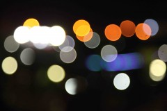 Bright lights: Out-of-focus lights mark a park in Erbil, Iraq. (2010)