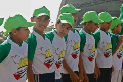 Hamas camp: Squirming boys stand in drill formation at Hamas' summer camp in Gaza. (2010)