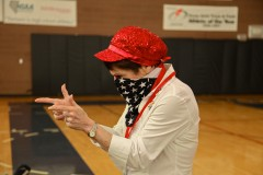 A GOP caucus organizer has a little fun with her patriotic costume in Boulder City, N.V. (2012)