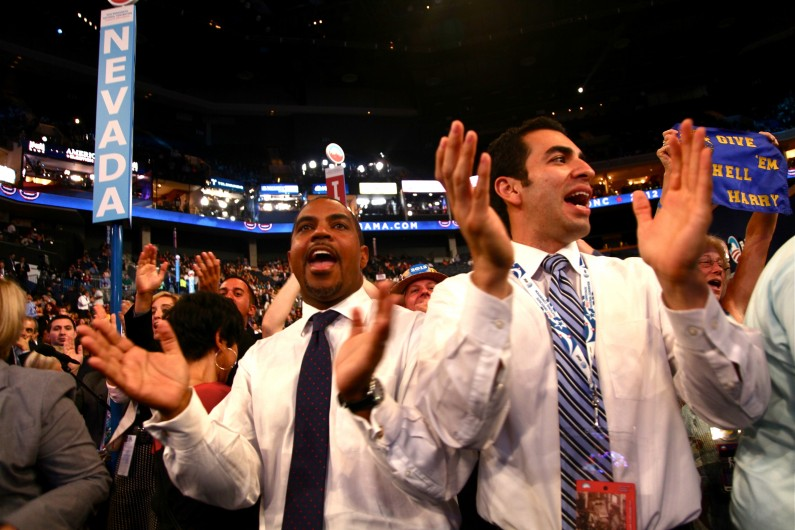 State senators Steven Horsford and Ruben Kihuen cheer Nevada Sen. Harry Reid's speech at the Democratic National Convention in Charlotte, N.C. (2012)
