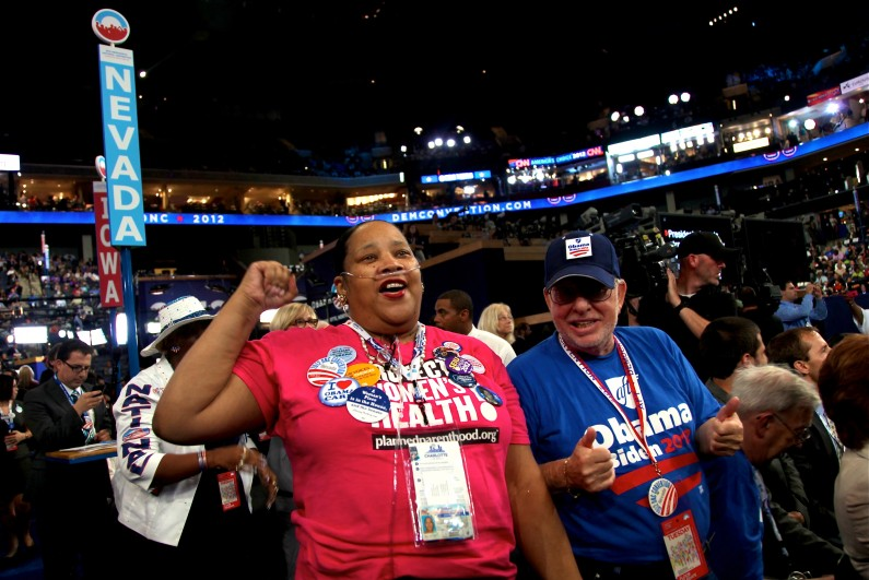 Edith Byrd and Rich Miller cheer on Nevada Sen. Harry Reid at the Democratic National Convention in Charlotte, N.C. (2012)
