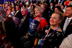 Kim Bacchus and Heidi Smith watch Mitt Romney speak to the Republican National Convention in Tampa, Fla. (2012)