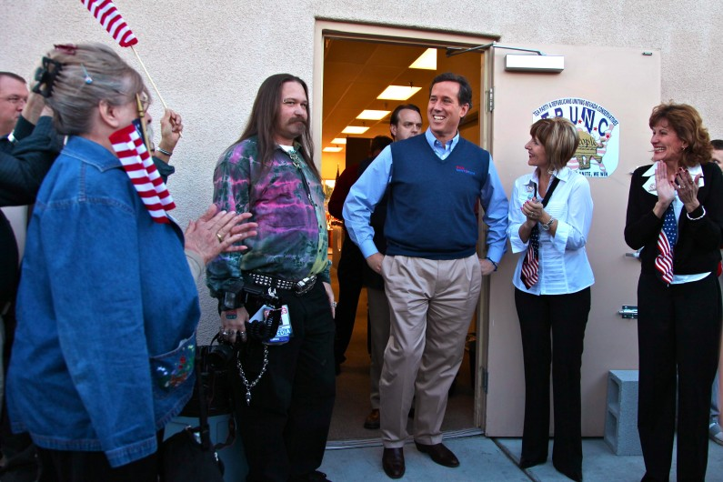 Rick Santorum stops to chat with supporters at his first and only campaign stop in Las Vegas, N.V. (2012)