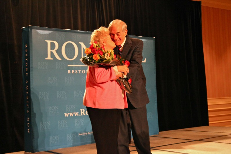 Ron Paul gets a kiss from his wife, Carol, at a campaign event in Las Vegas on their 55th anniversary. (2012)