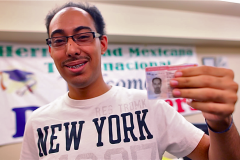 Alan Aleman, 19, shows off his work permit -- Aleman was in the first batch of undocumented youths in Nevada to receive deferred action status. (2012)