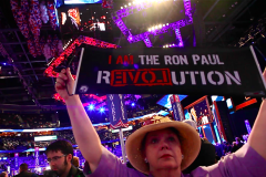 Cynthia Kennedy holds up a Ron Paul banner in protest during the closing ceremony of the Republican National Convention in Tampa, Fla. (2012)