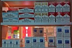 Warning: Cigarette warning labels on collective display at the airport in Tbilisi, Georgia. (2010)